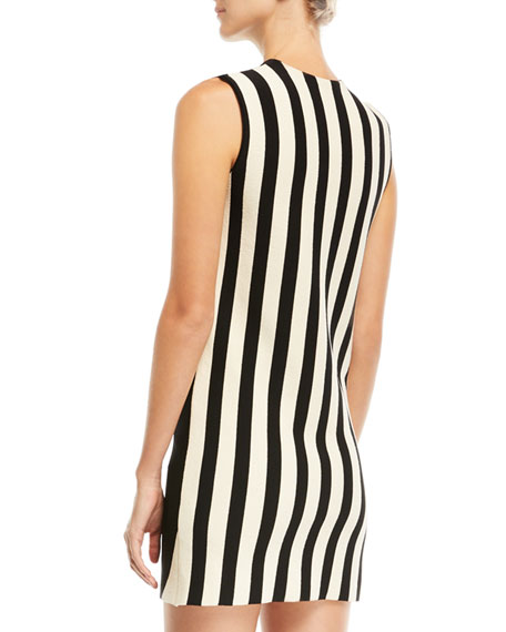 Mix-Striped High-Neck Sleeveless Dress