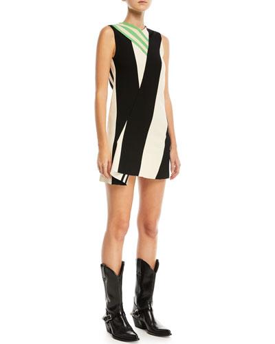 Mix-Striped High-Neck Sleeveless Dress