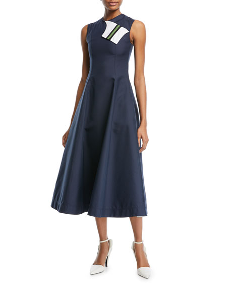 Image 1 of 1: Sleeveless Fit-and-Flare Tea-Length Dress with Striped Foldover