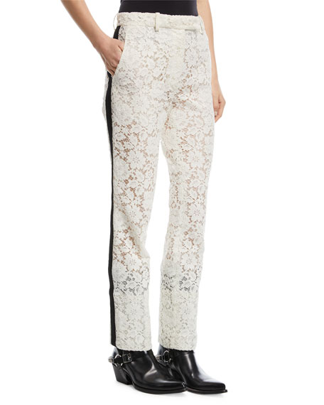 Lace Tuxedo-Stripe Pants