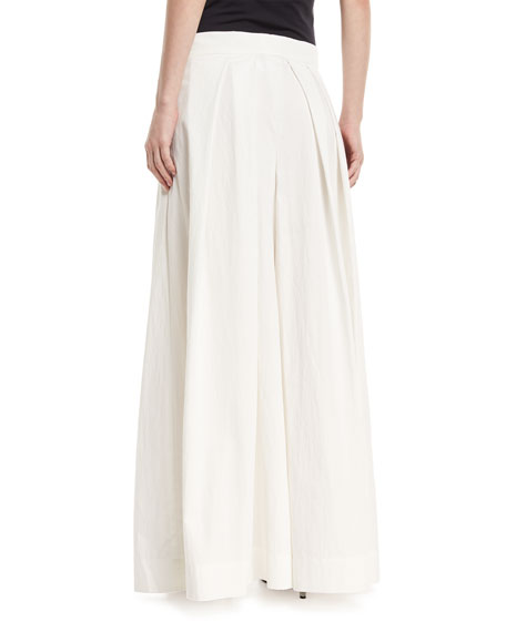 Pleated Wide-Leg Cotton-Blend Skirt-Pants