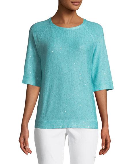 Paillette 3/4-Sleeve Sweater