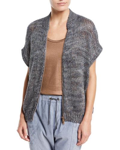 3/4-Sleeve Zip-Front Linen-Hemp Cardigan