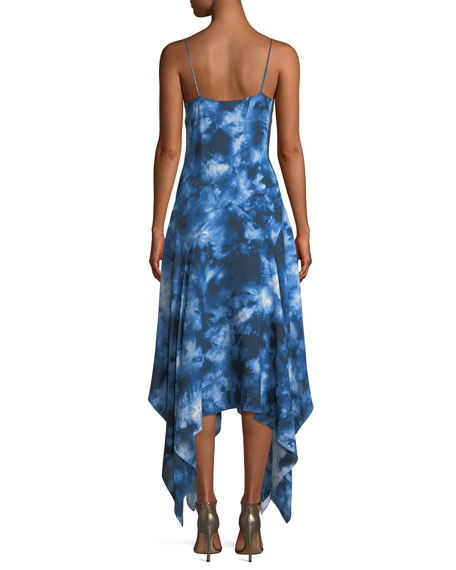 Asymmetric Tie-Dye Silk Midi Dress