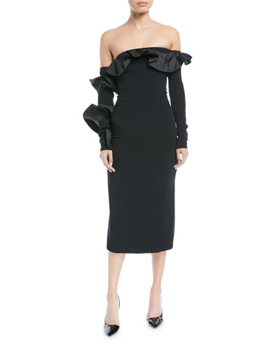 Iria Off-the-Shoulder Long-Sleeve Fitted Cocktail Dress w/ Taffeta Ruffles