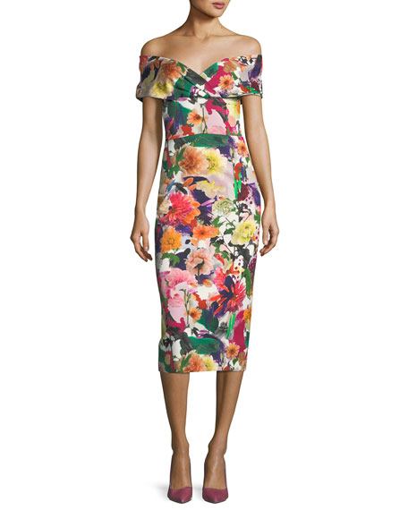 Alba Off-the-Shoulder Floral-Print Fitted Cocktail Dress