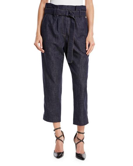 Monili-Trim Jeans w/ Tie Waist