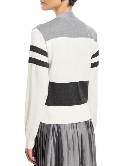 Wool/Cashmere Colorblock Stripe Cardigan