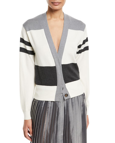 Wool/Cashmere Colorblock Stripe Cardigan
