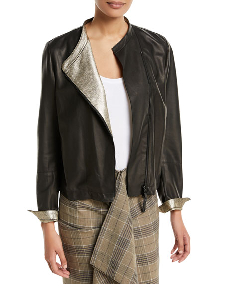Leather Asymmetric-Zip Jacket w/ Metallic Lining