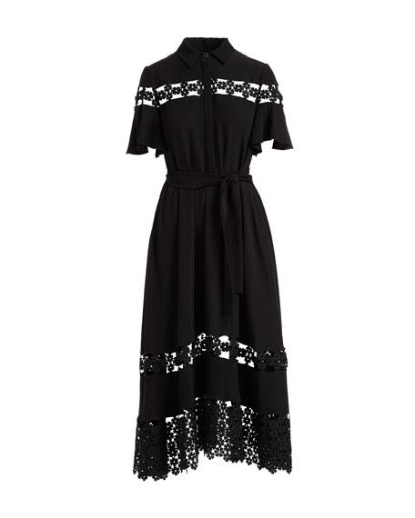 Flutter-Sleeve Textured Silk Cloque Shirtdress with Lace Inset