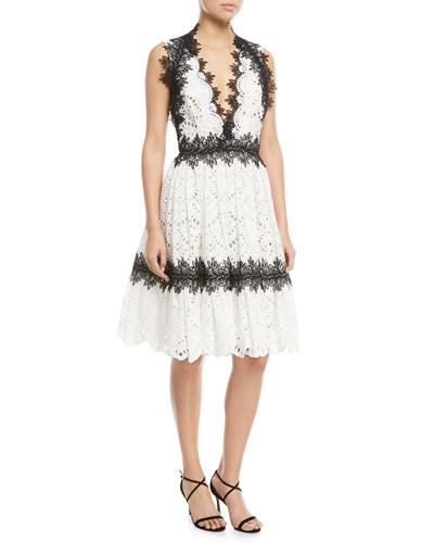 Sleeveless Eyelet Lace V-Neck Knee-Length Cocktail Dress