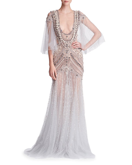 Cape-Sleeve Embellished Tulle Evening Gown with  Necklace Embroidery