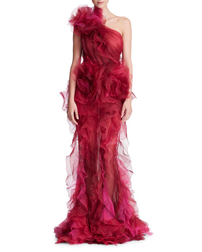 One-Shoulder Ruffled Silk Organza Tulle Evening Gown w/ Floral Detail