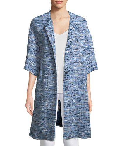 Half-Sleeve Tweed Topper Jacket