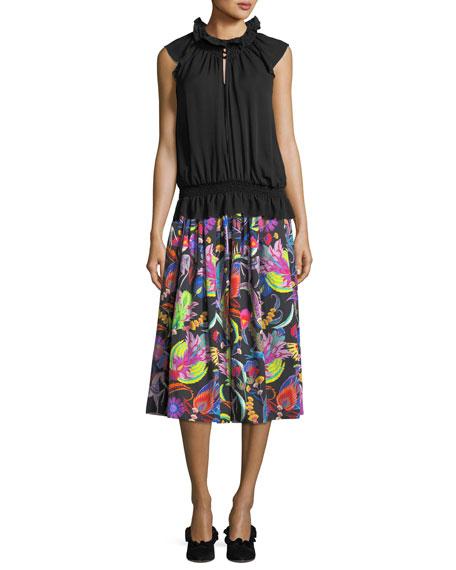 Paisley-Print Cotton Skirt