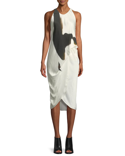 Sleeveless Side-Tucked Midi Dress