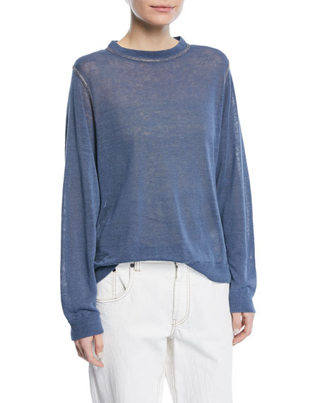 Crewneck Long-Sleeve Pullover Linen Top with Monili Topstitching