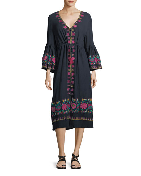 Junie Embroidered Midi Dress