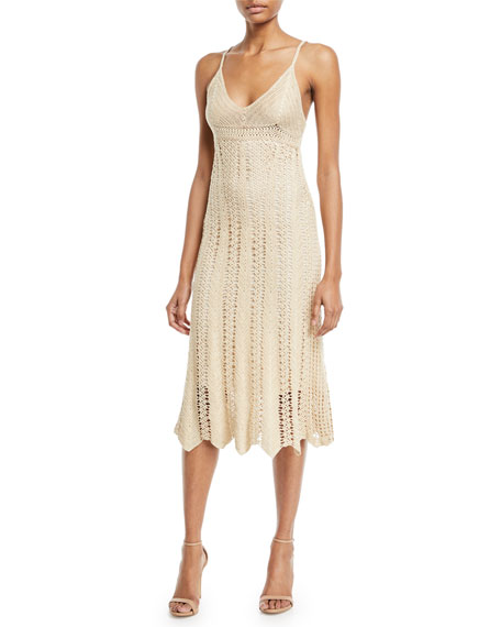 Sleeveless V-Neck Crochet Camisole Midi Dress