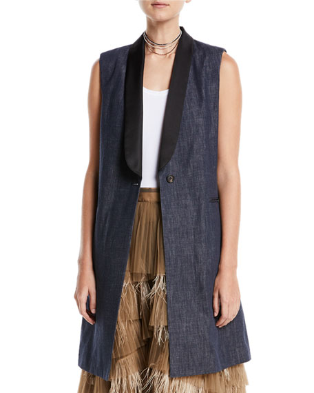 Long Denim One-Button Vest w/ Satin Collar
