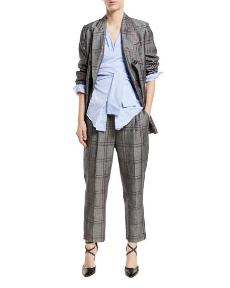 Cotton/Linen Check Paillette Pants