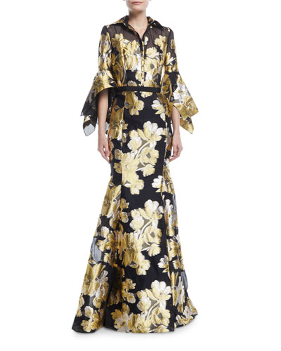 Jacquard Shirtwaist Gown w/ Belt