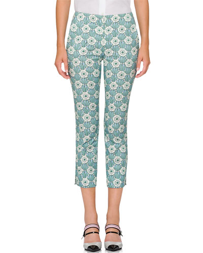 Cropped Floral-Print Pants
