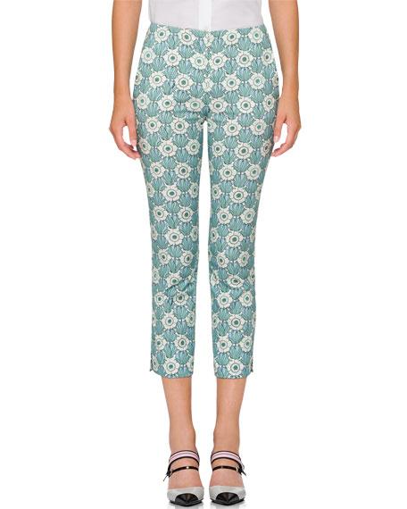 Cropped Floral-Print Pants