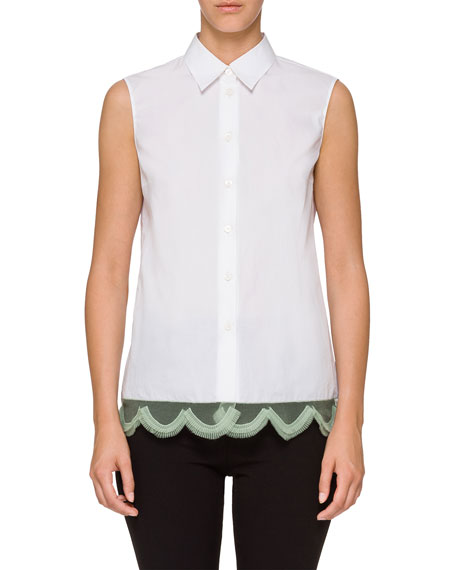 Sleeveless Collared Top w/ Contrast Hem