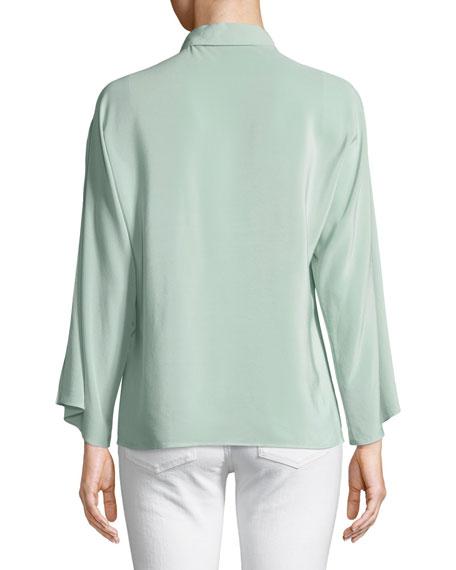 Karen Split-Sleeve Silk Blouse, Green