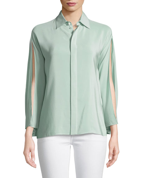 Karen Split-Sleeve Silk Blouse, Green