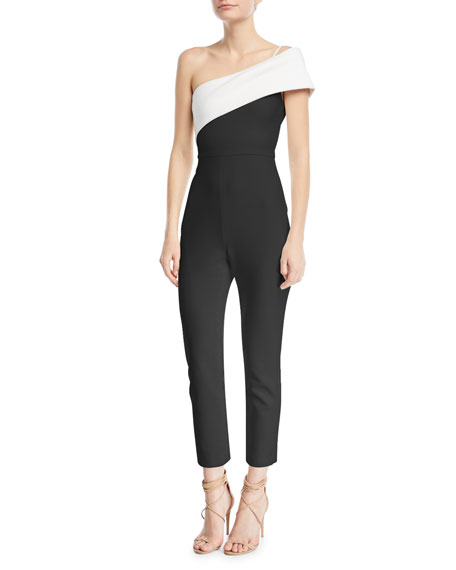 One-Shoulder Straight-Leg Crepe Jumpsuit