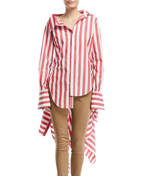 Candy-Stripe Blouse w/Back Peplum