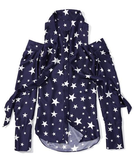 Star-Print Silk Twill Cold-Shoulder Top