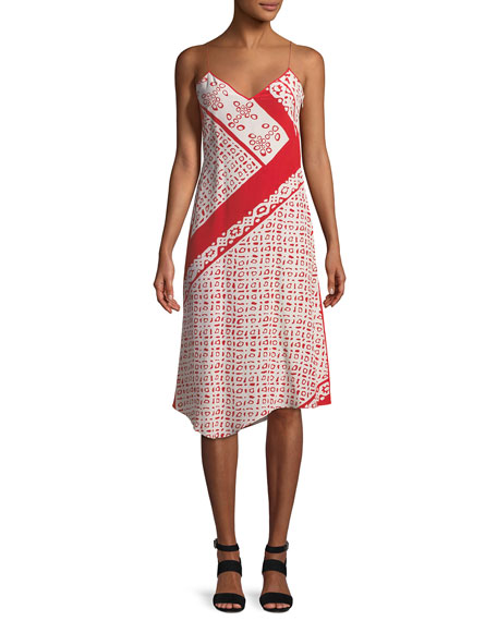 Kleber Fishnet Long-Sleeve Bandana-Print Midi Dress