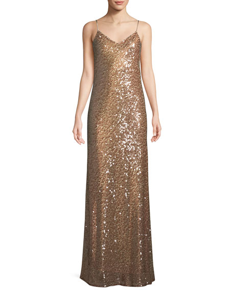 V-Neck Sequined Camisole Evening Gown