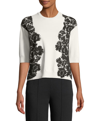 Half-Sleeve Crewneck Knit Top with Lace Applique