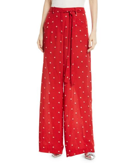 Rosebud-Print Wide-Leg Silk Pajama Pants