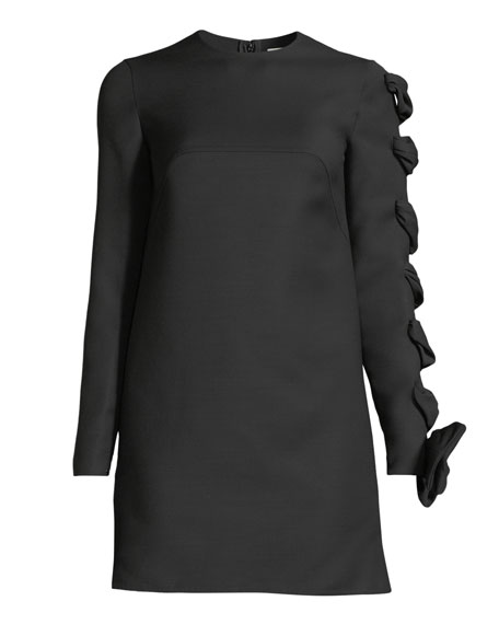 Long-Sleeve Wool-Cady Dress with Woven Sleeve Detail