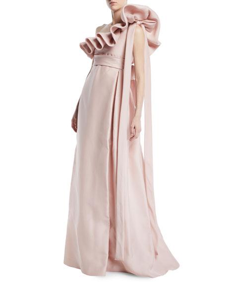 One-Shoulder Ruffle Light-Gazaar Full Evening Gown