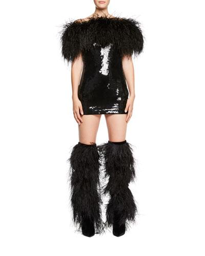 Feather-Trim Off-Shoulder Sequin Mini Dress