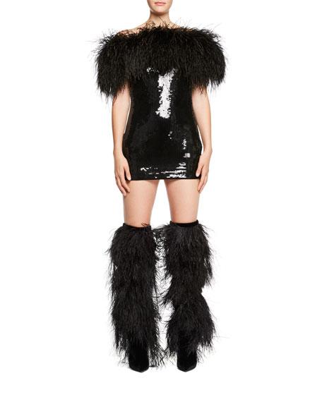 f7b79ae9faa11 Saint Laurent Feather-Trim Off-Shoulder Sequin Mini Dress