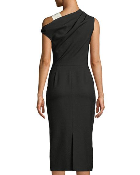 One-Shoulder Wool Midi Sheath Dress