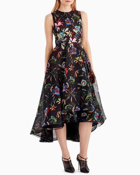 Sleeveless Floral-Print Organza Cocktail Dress
