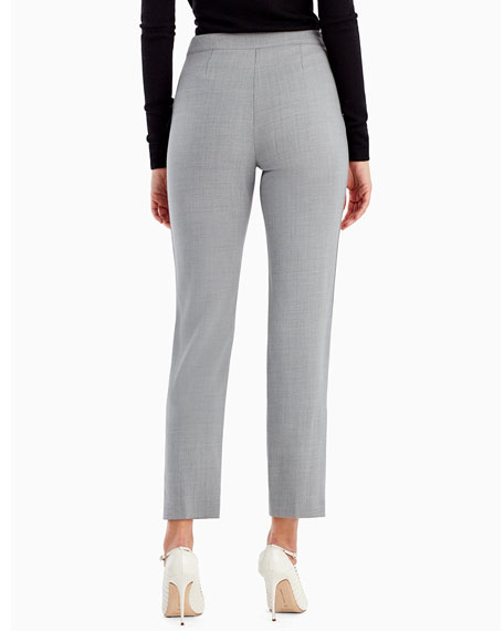 Straight-Leg Crop Pants with Button Trim