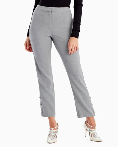 Straight-Leg Crop Pants with Button Trim