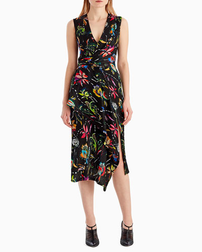 Sleeveless Surplice Floral-Print Crinkle Silk Day Dress