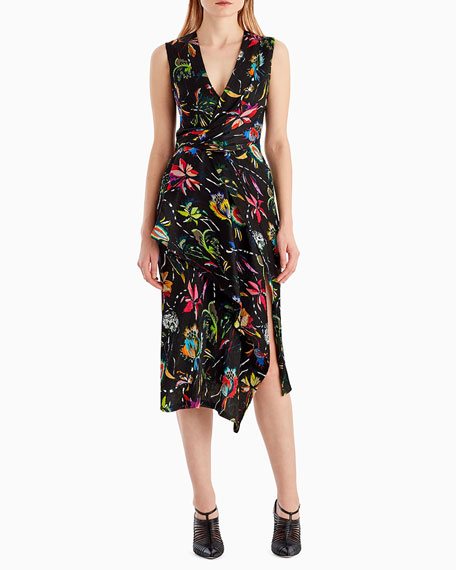 Sleeveless Surplice Floral-Print Crinkle Silk Day Dress