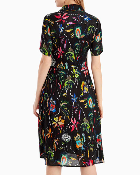 Short-Sleeve Floral-Print Crinkle Silk Dress